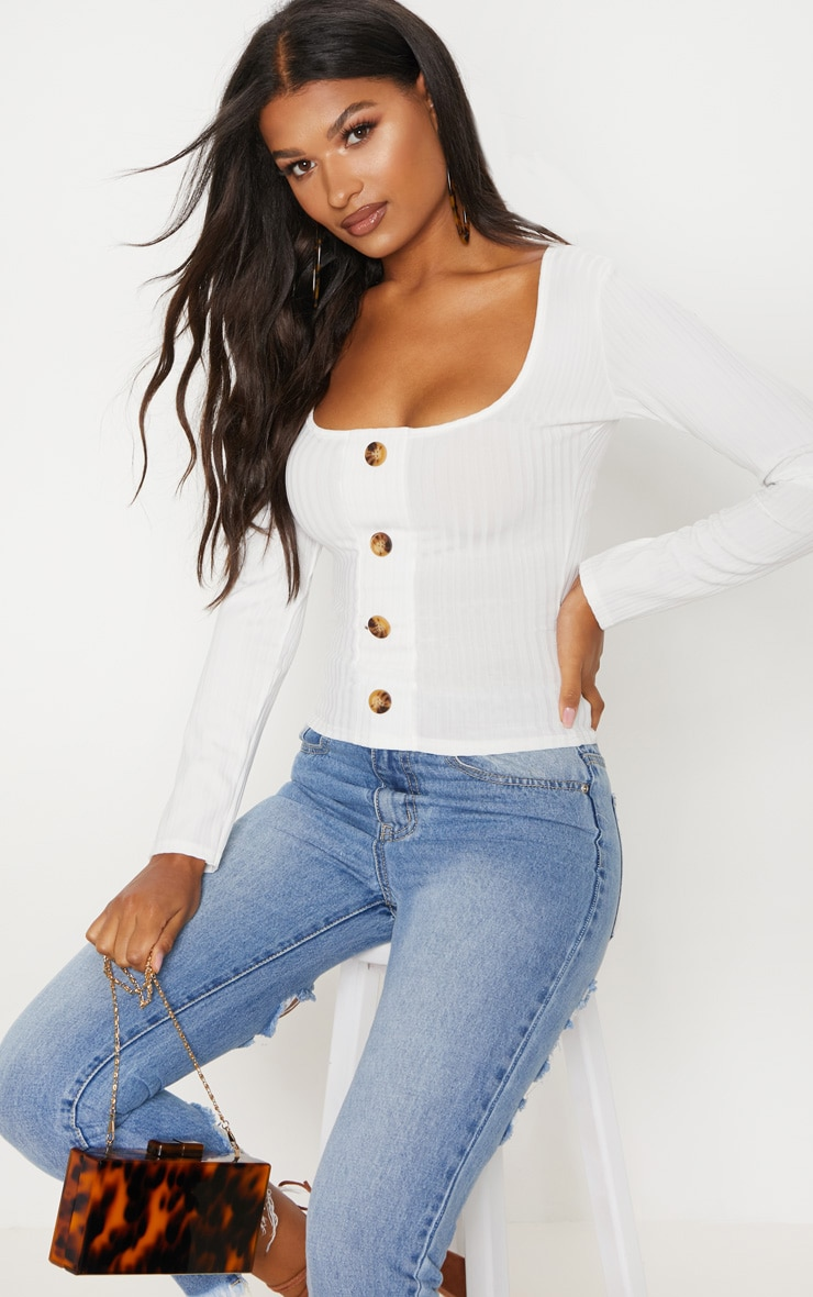 White Long Sleeve Rib Button Detail Top 4