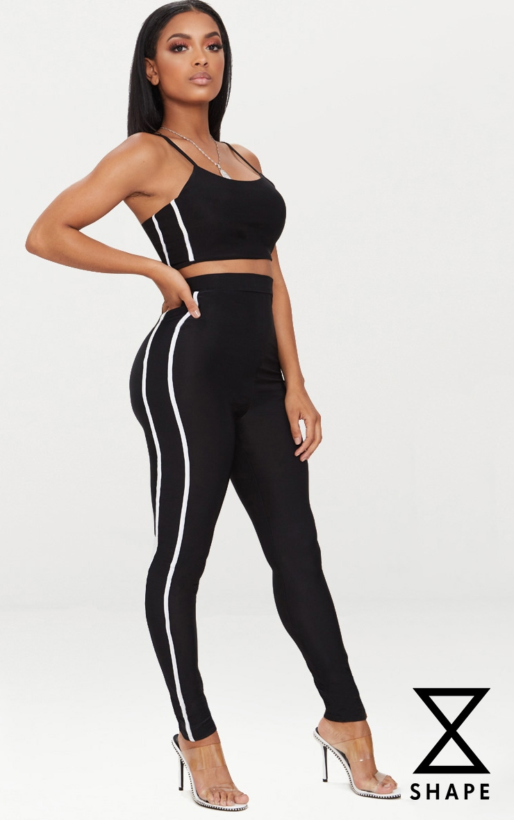Shape Black Sports Stripe High Waisted Leggings 1