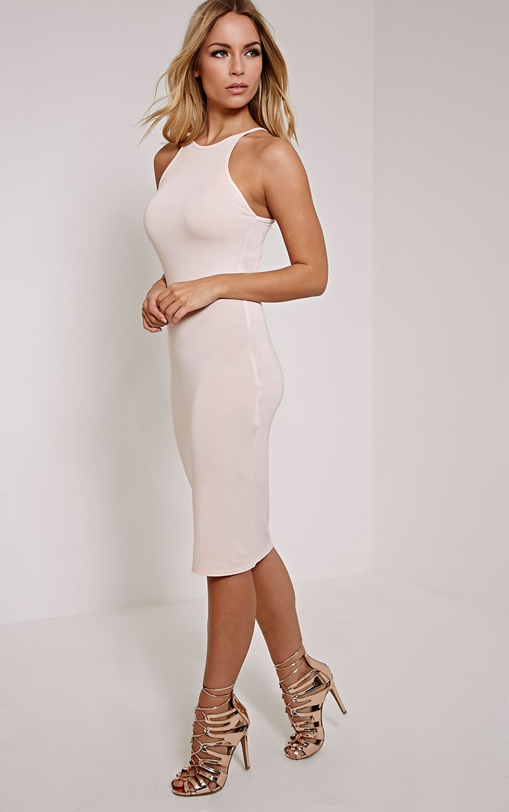 Basic Nude Thin Strap Racer Neck Jersey Midi Dress 4