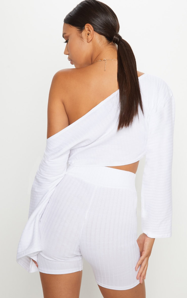 White Rib Off The Shoulder Crop Top 2