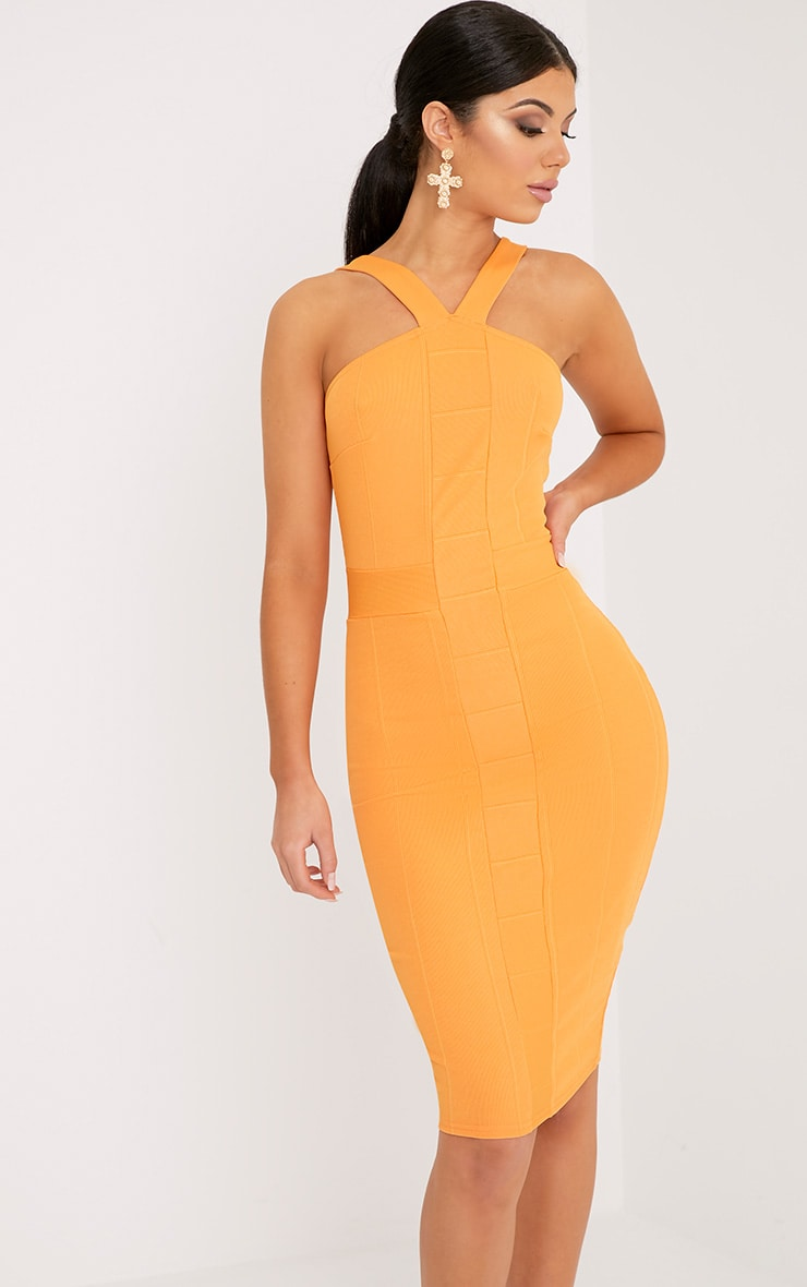 Meryl Bright Orange Bandage Strap Detail Bodycon Dress 1