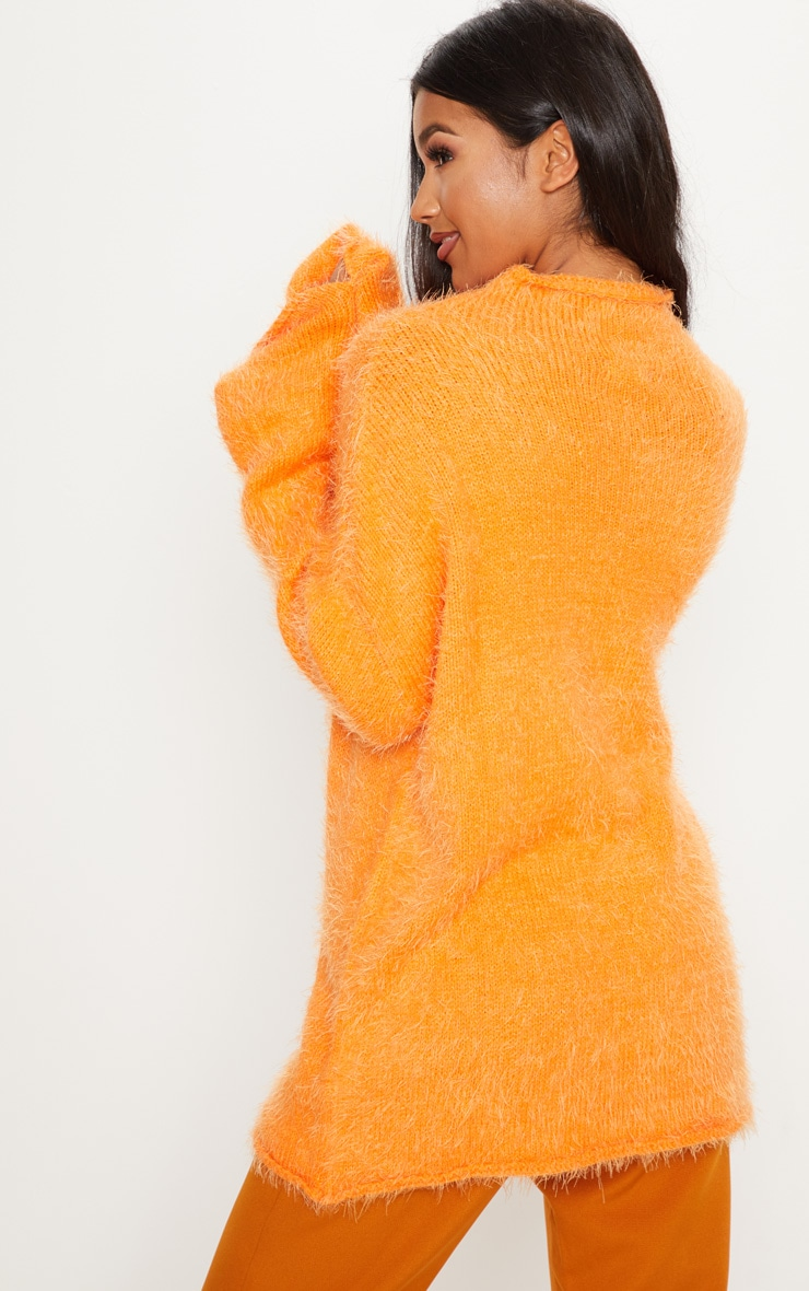 Orange Oversized Eyelash Jumper 2