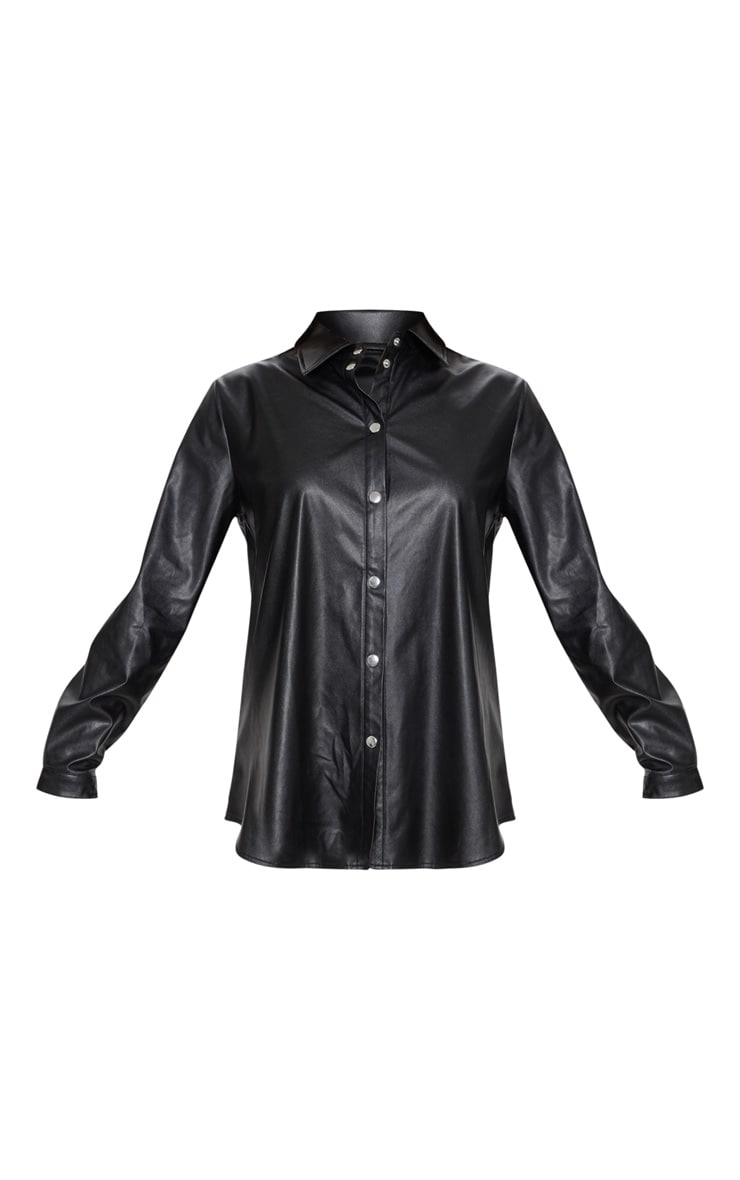 Black Faux Leather Oversized Shirt 3