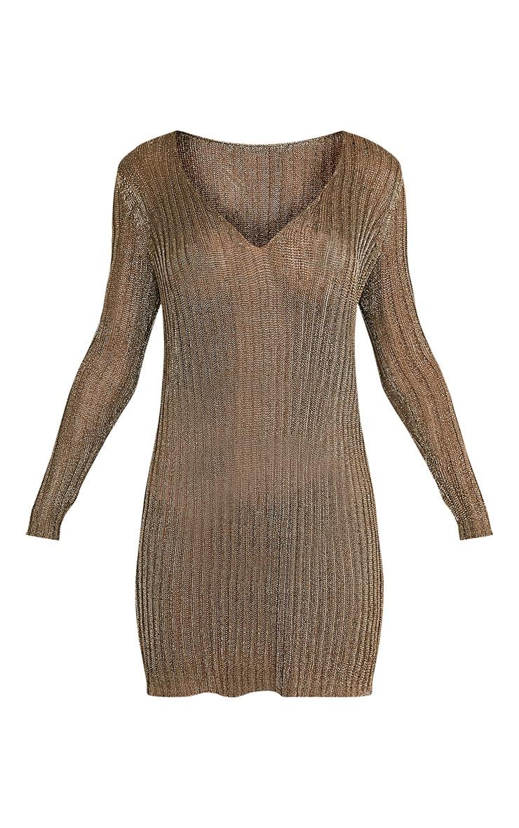 Abionae robe pull à col en V tricotée dorée métallisée 3