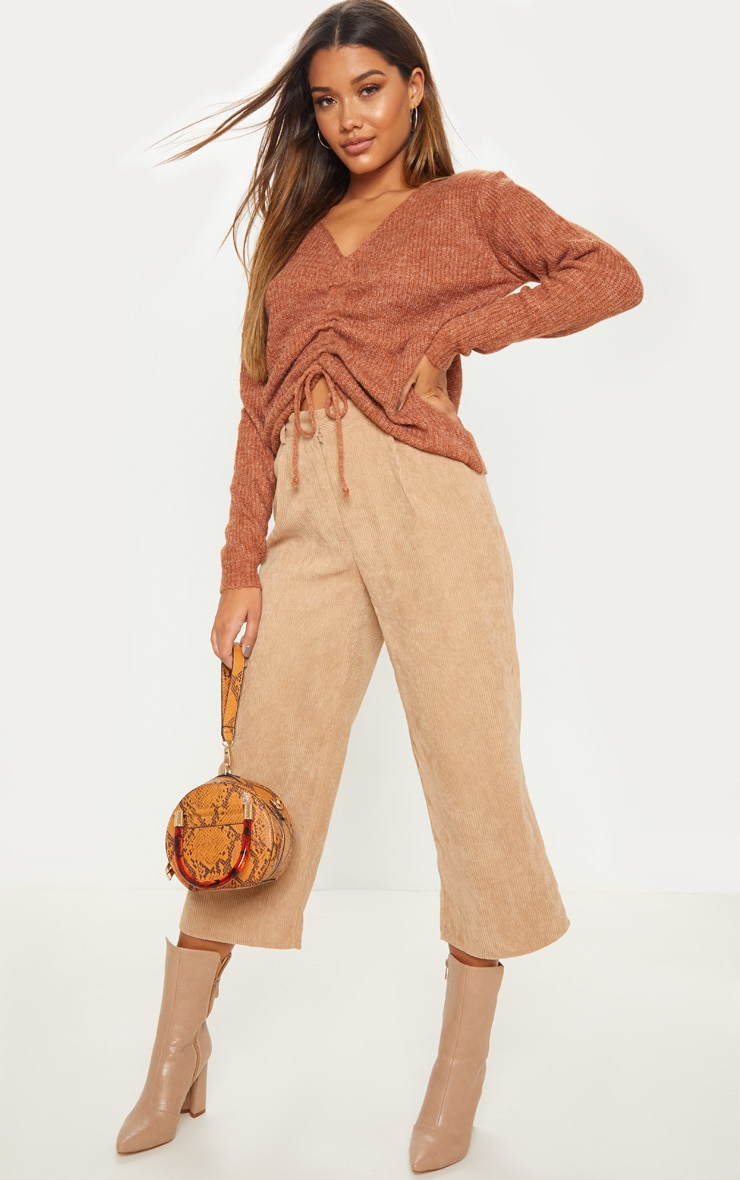 Rust Ruched Front Sweater 4