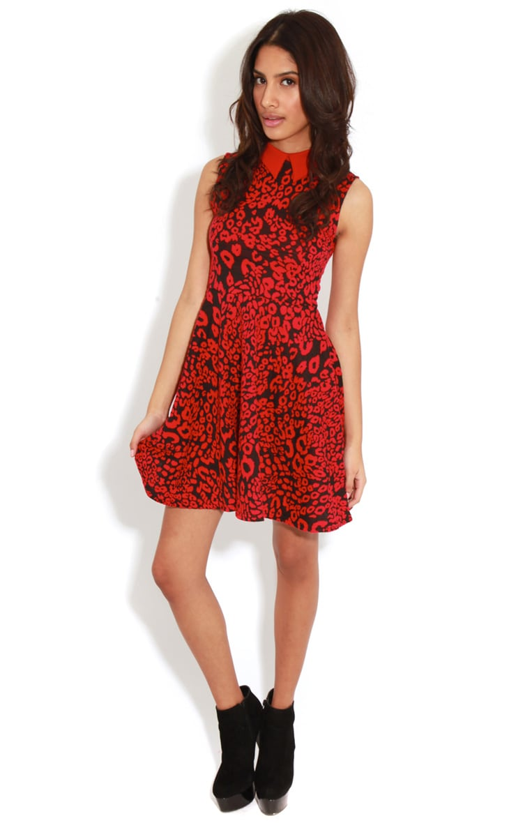 Parma Red & Black Leopard Collar Skater Dress  3