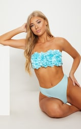 PrettyLittleThing - Baby Blue 3D Floral Bandeau Bikini Top - 1