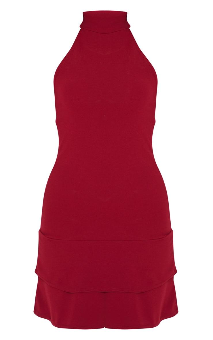Burgundy Ruffle Hem High Neck Skater Dress 3
