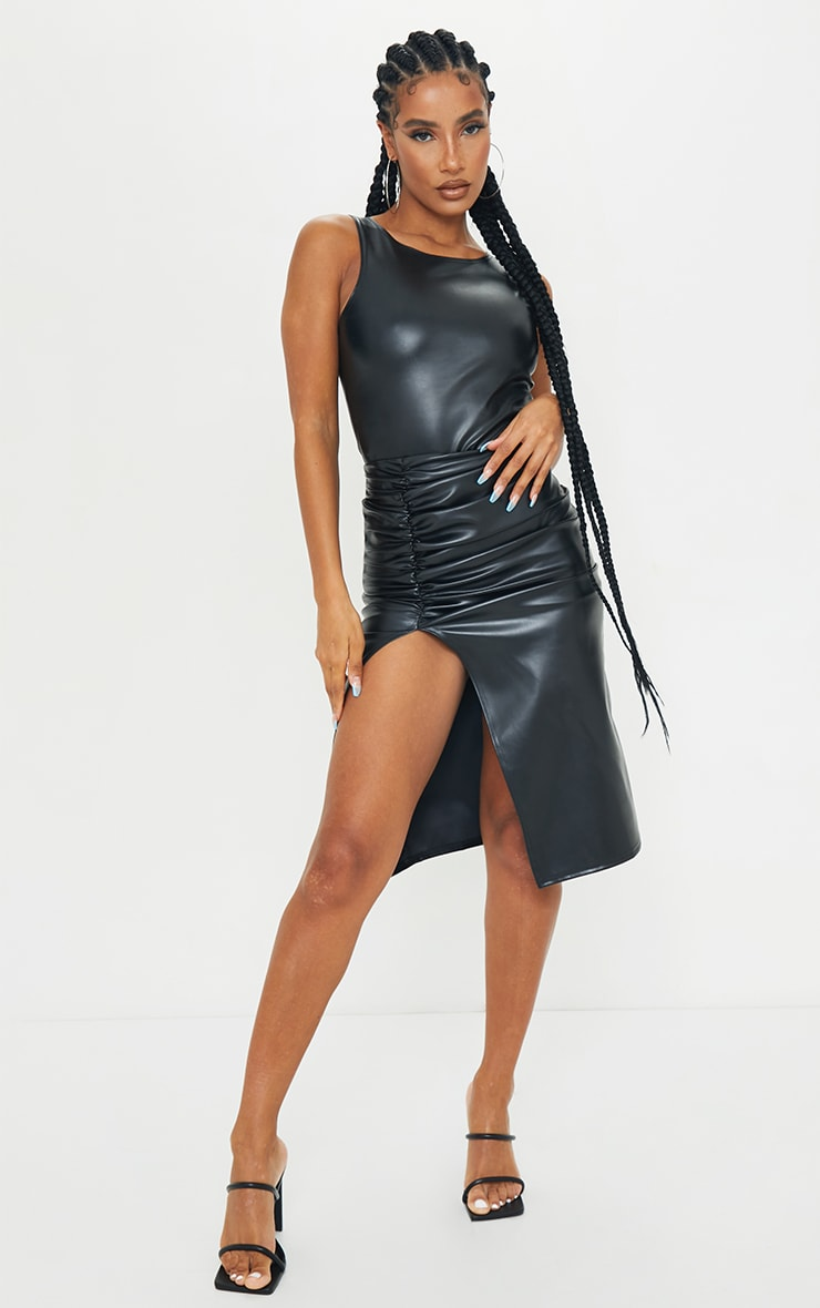 Black PU Ruched Split Leg Midi Skirt 1
