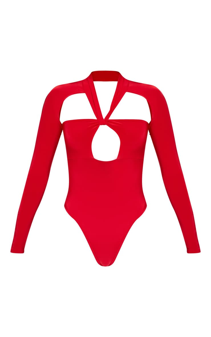 Red Twist Cut Out Long Sleeve Bodysuit 3