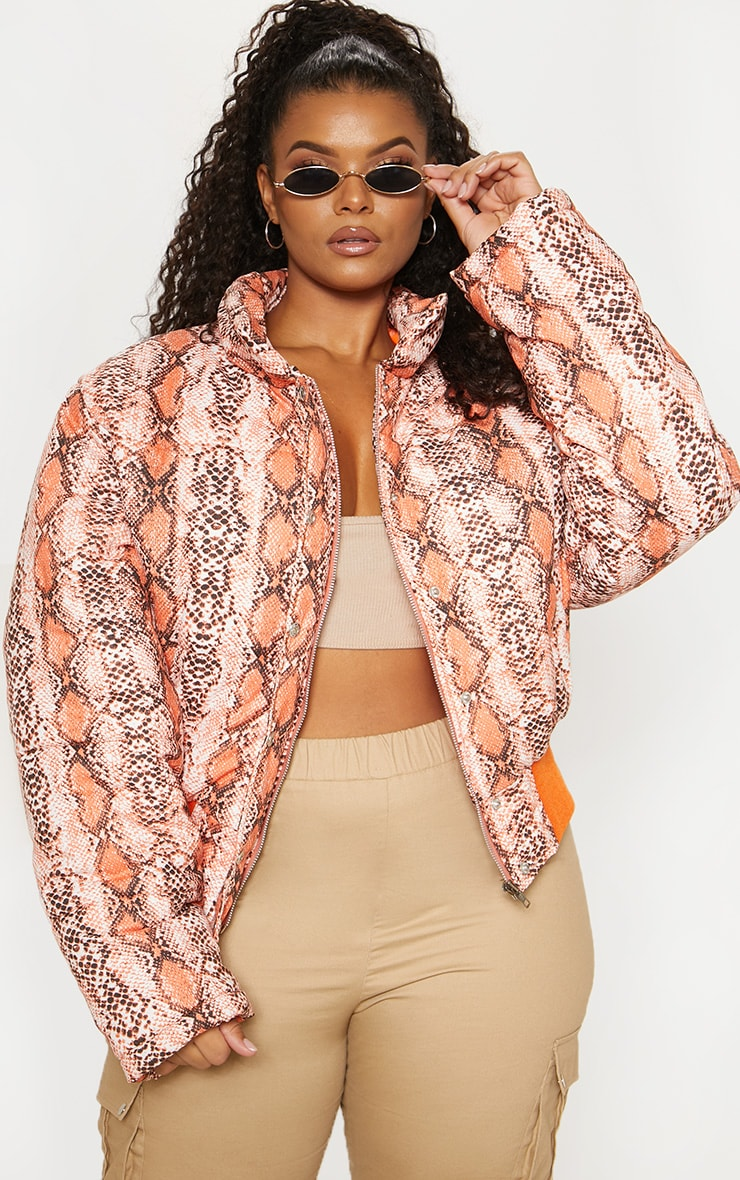Plus Orange Snake Print Cropped Puffer 2