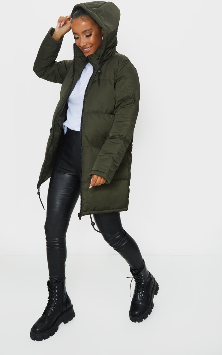Khaki Hooded Longline Puffer Coat 1