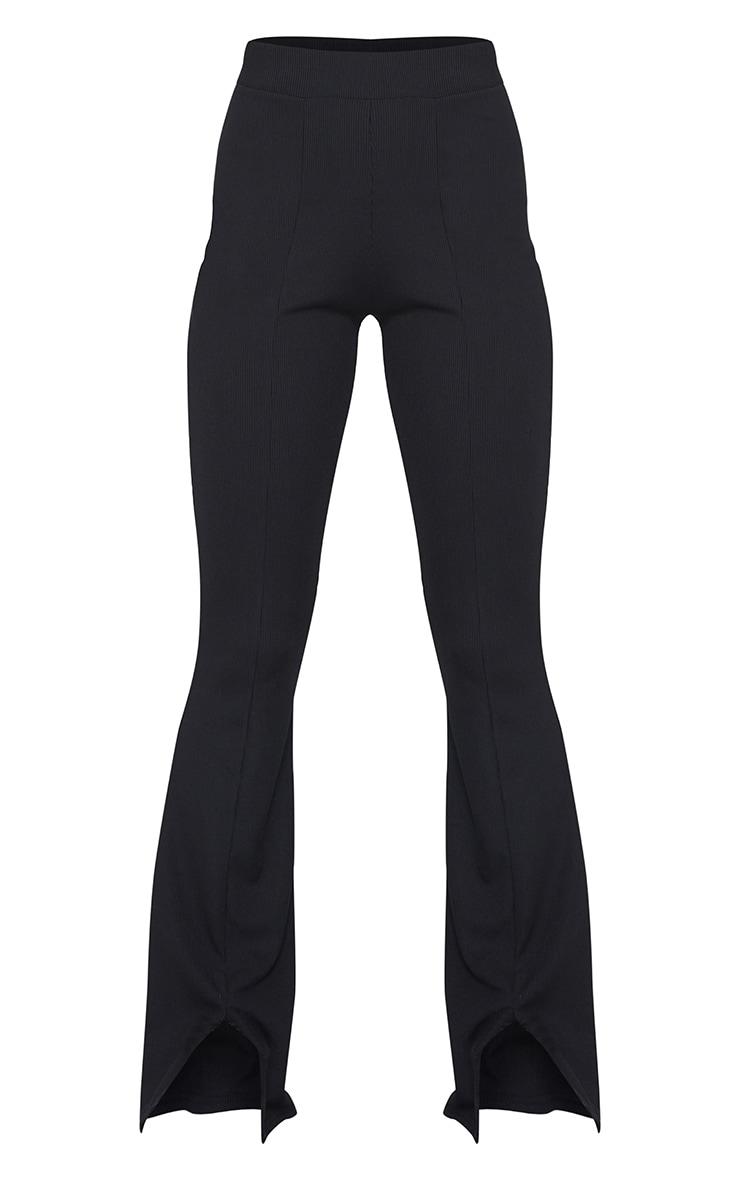 Black Rib Split Hem Flared Trousers 5