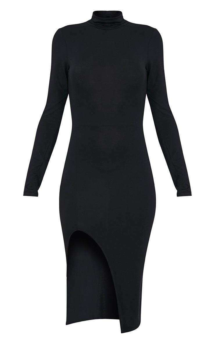 Fazena Black High Neck Side Split Midi Dress 3