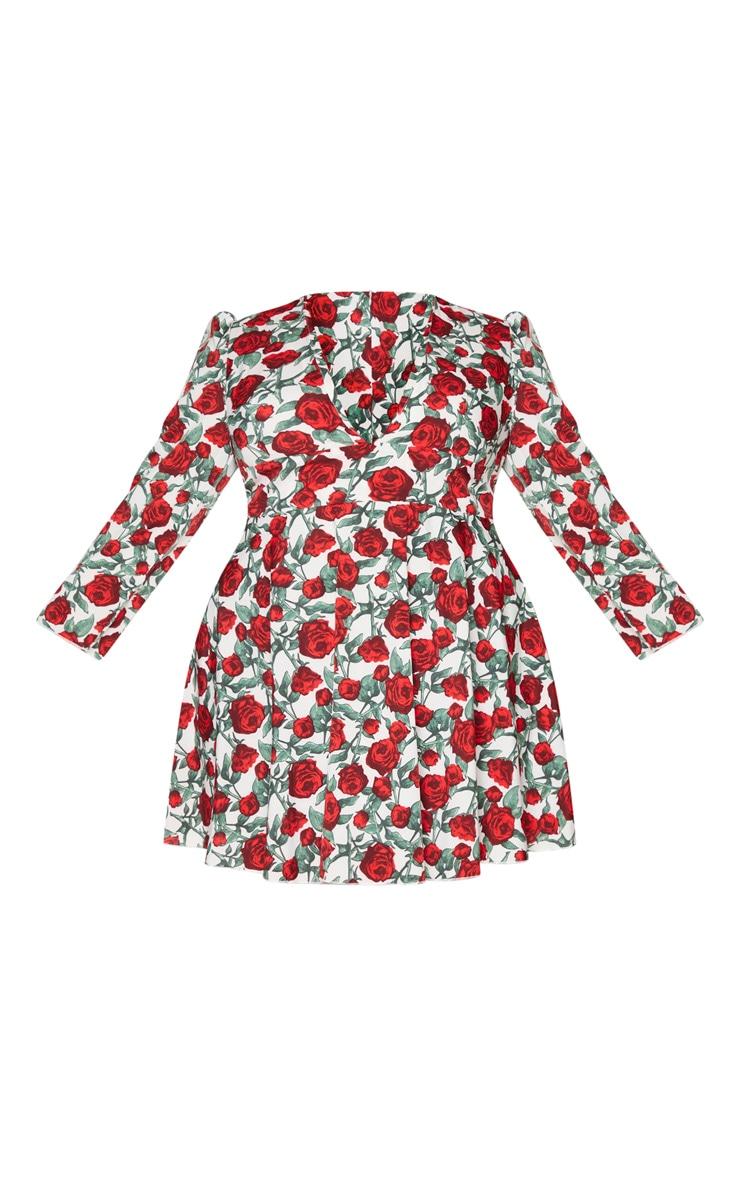 Plus White Rose Plunge Skater Dress 5
