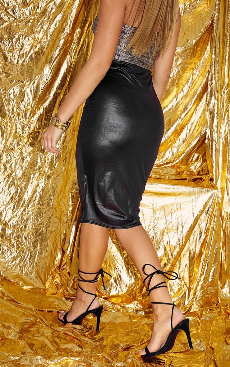 Black Wet Look Midi Skirt 4