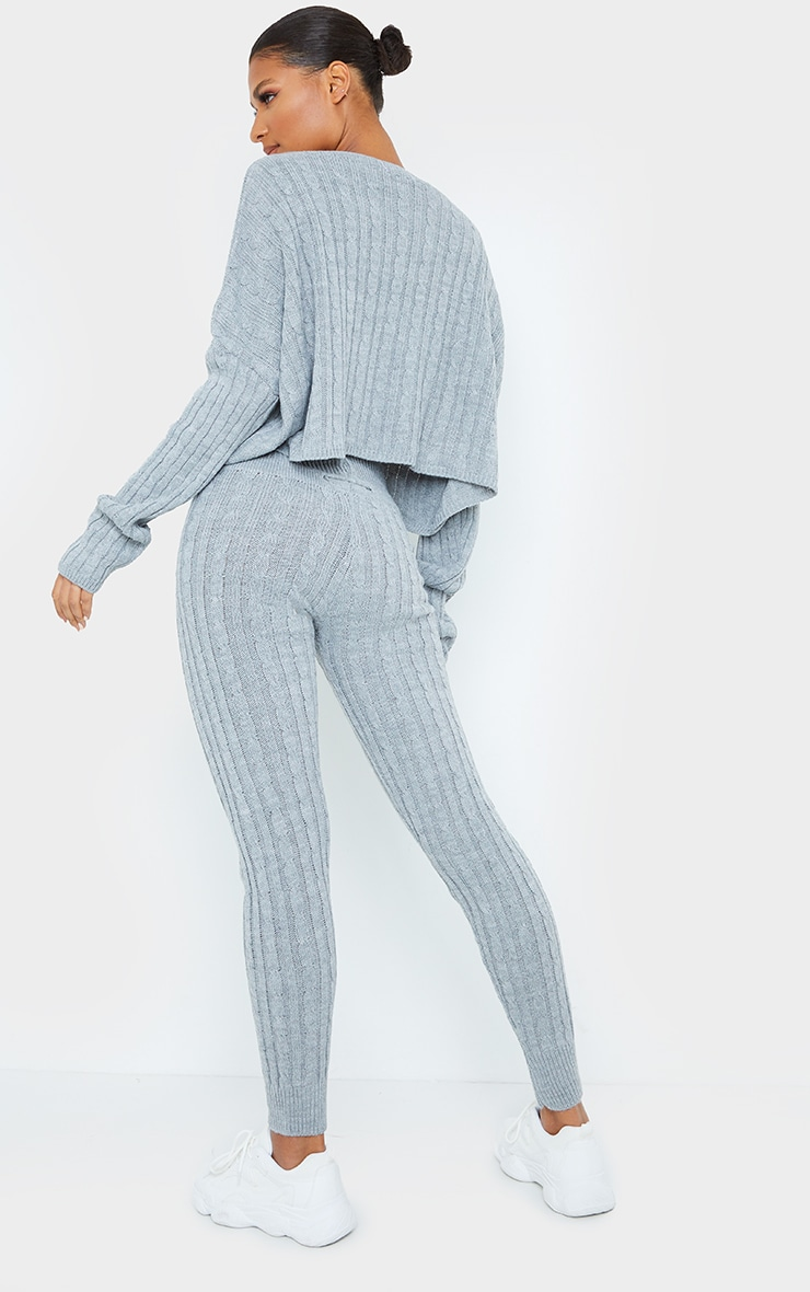 Grey Cable Knit Crop Jumper & Legging Set 2