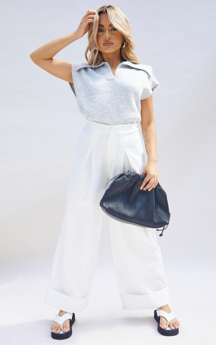 Petite Light Grey Soft Collared Knitted V Neck Vest 3