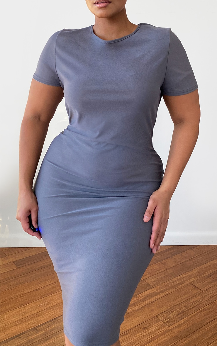 Plus Charcoal Grey Cap Sleeve Midi Dress 4