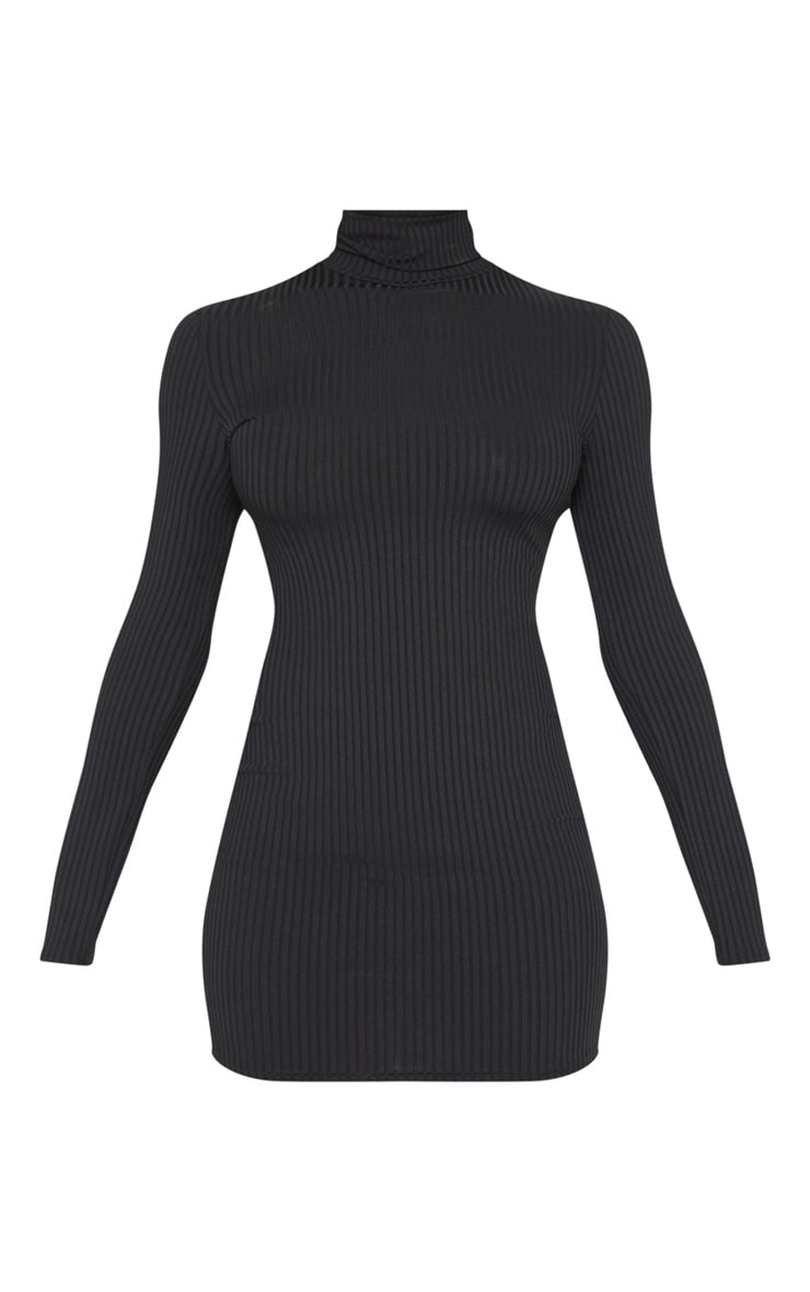 Tall Black Rib High Neck Bodycon Dress 3