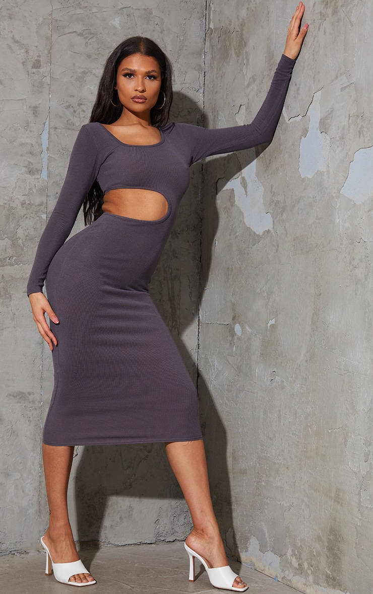 Charcoal Blue Ribbed Long Sleeve Cut Out Midaxi Dress 1