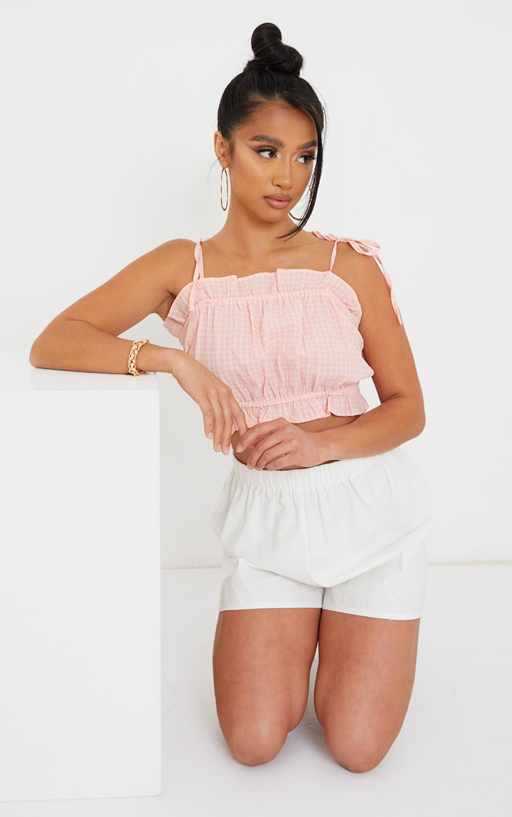 Petite Coral Strappy Ruffle Crop Blouse 3