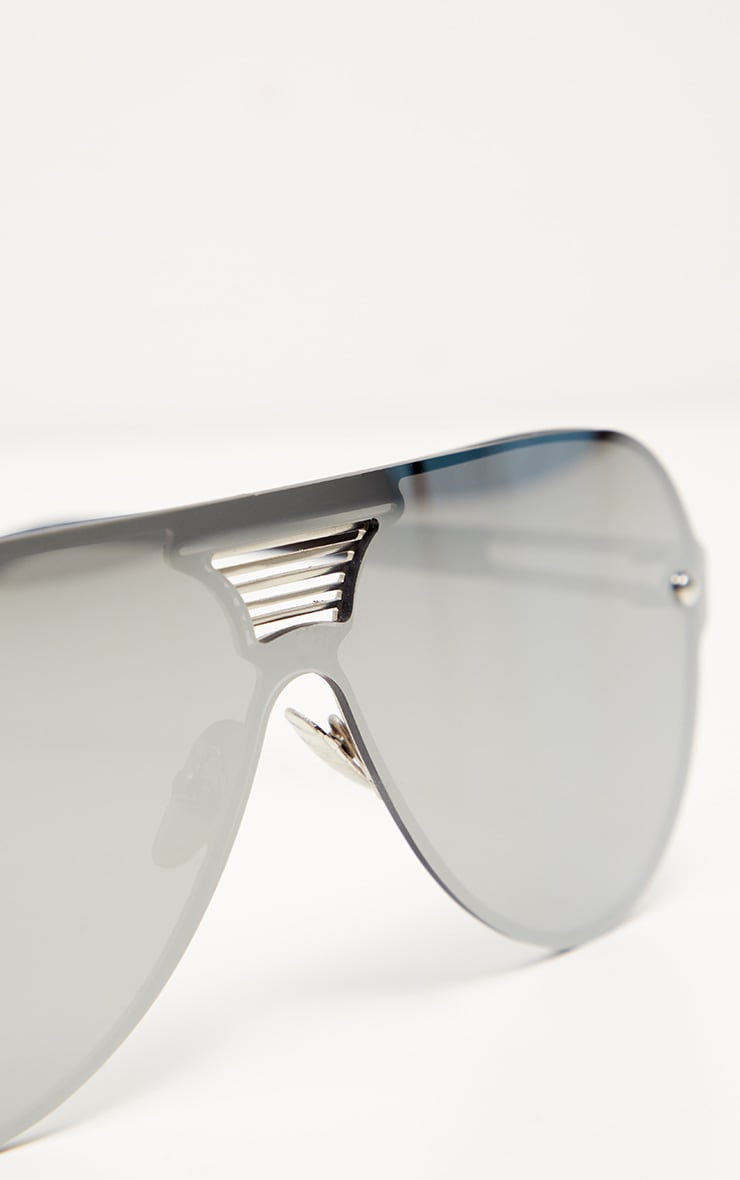 Silver Mirror Oversized Aviator 4