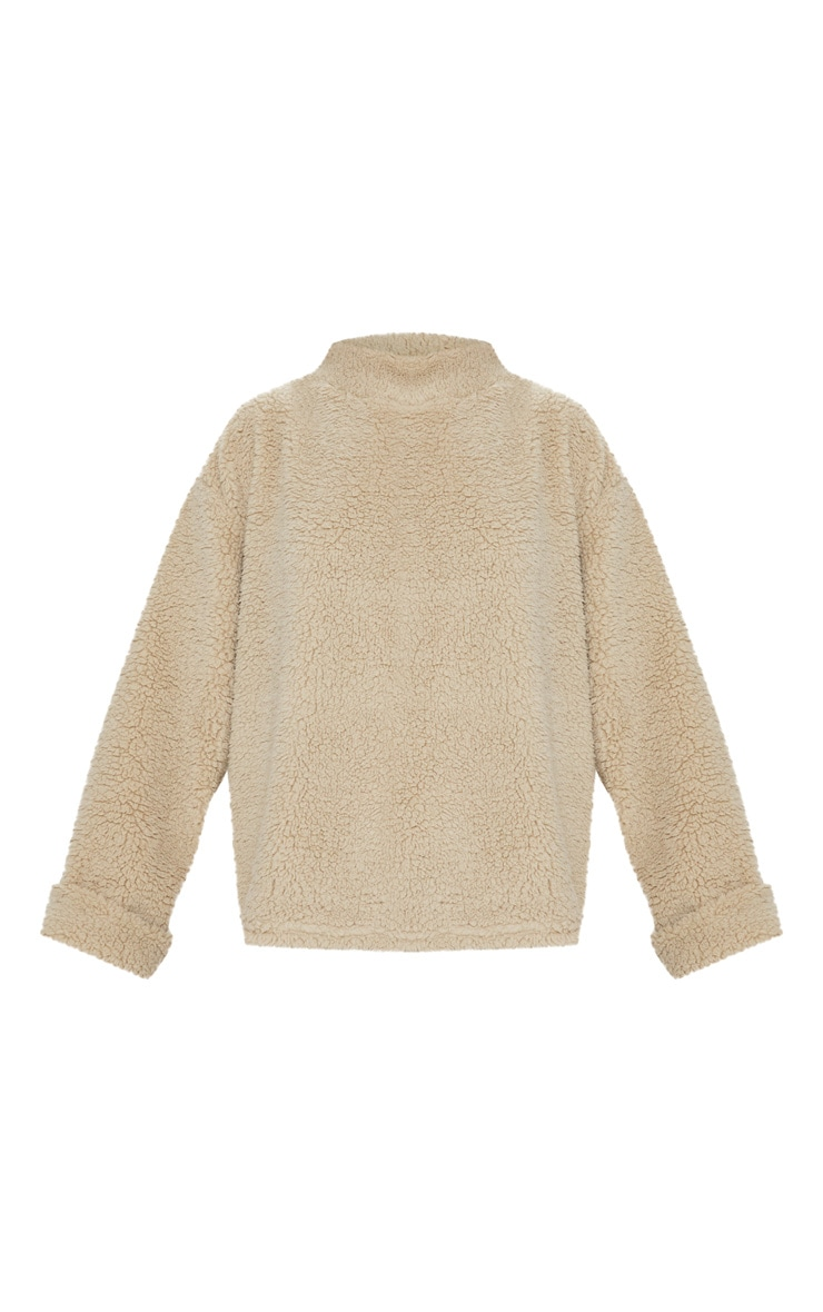 Deep Stone High Neck Borg Sweater 3
