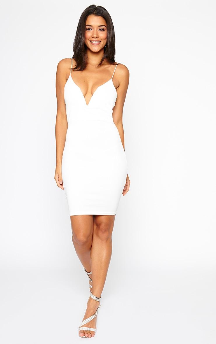 Marisole Cream Plunge Front V Bar Dress 3