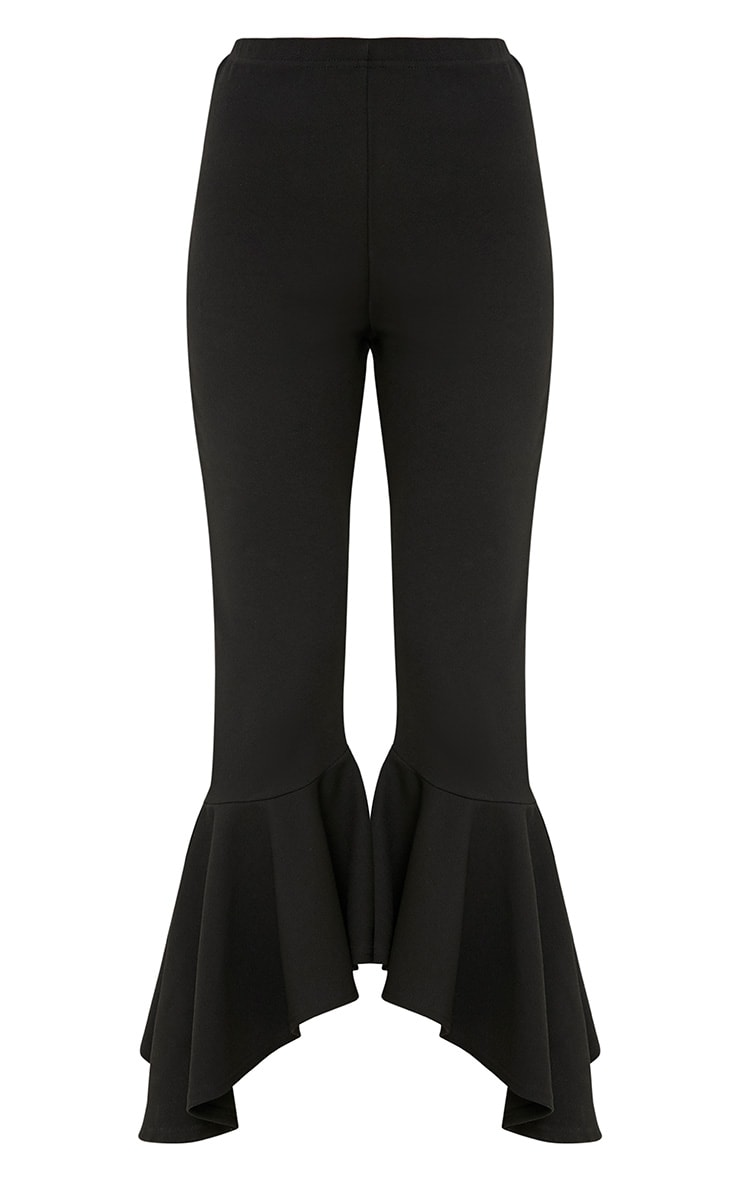 Lourdes Black Asymmetric Flare Hem Trousers 3