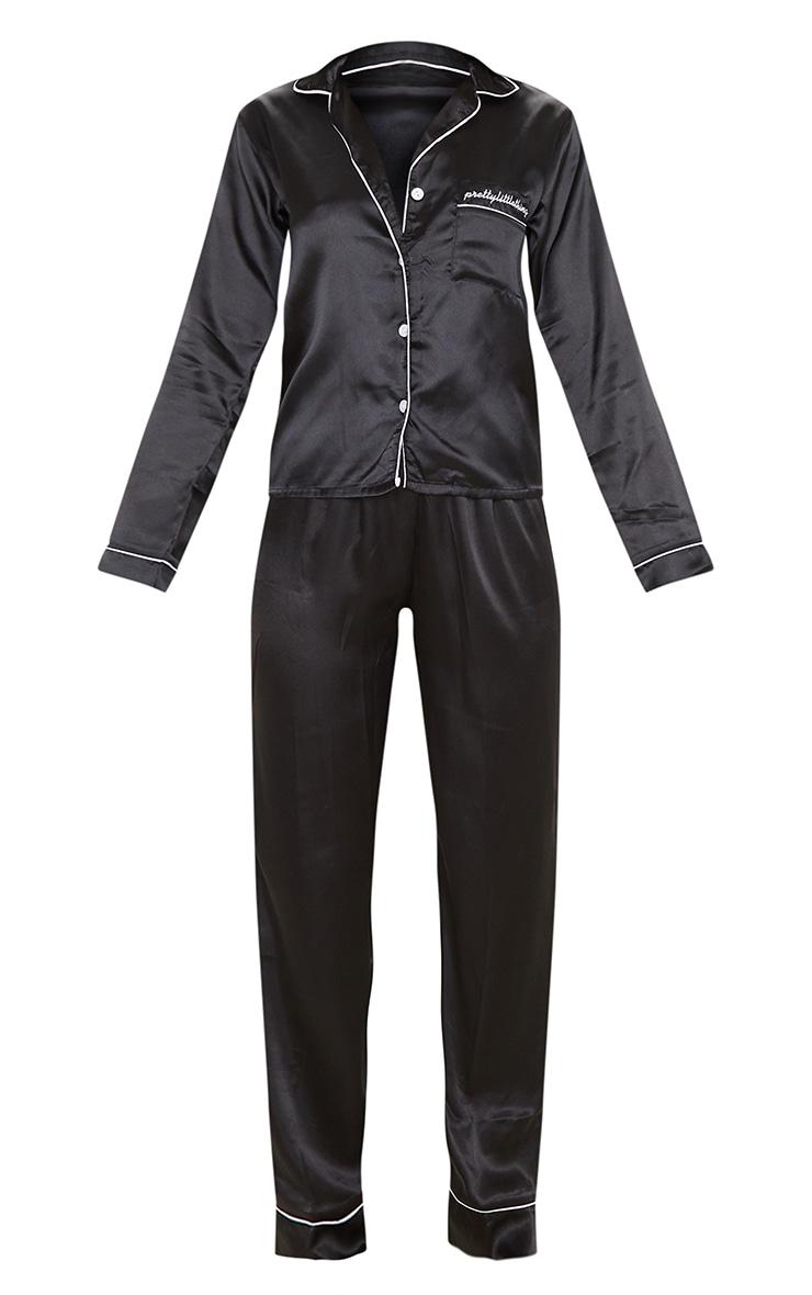 PRETTYLITTLETHING - Ensemble de pyjama satiné noir à poches 3