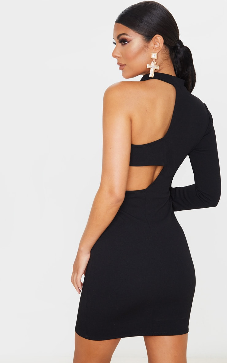 Black High Neck One Shoulder Cut Out Bodycon Dress 2