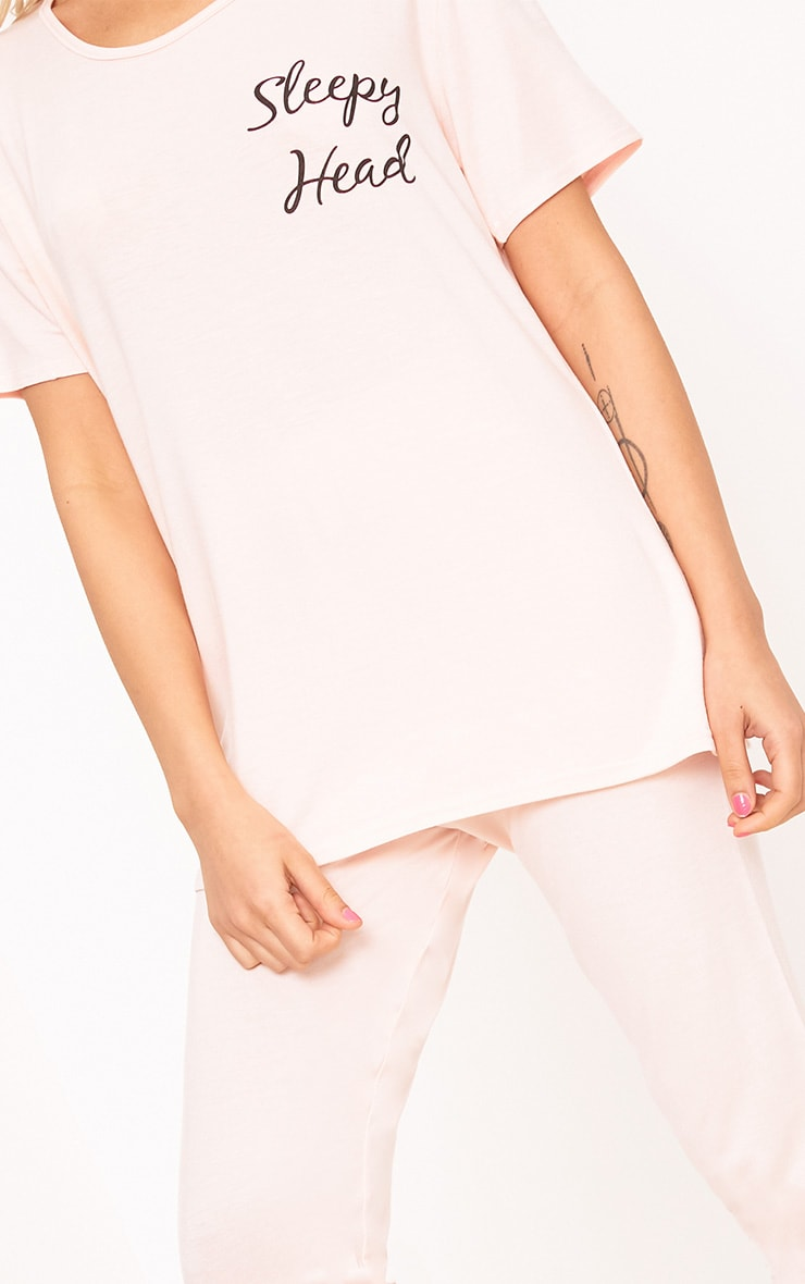 Ensemble pyjama avec slogan Sleepy Head couleur chair  5