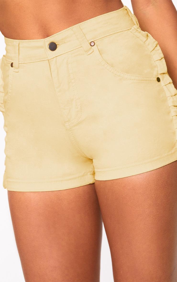 Yellow Ruffle Denim Shorts 7