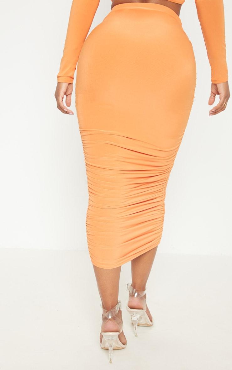 Shape Tangerine Slinky Ruched Midi Skirt 4