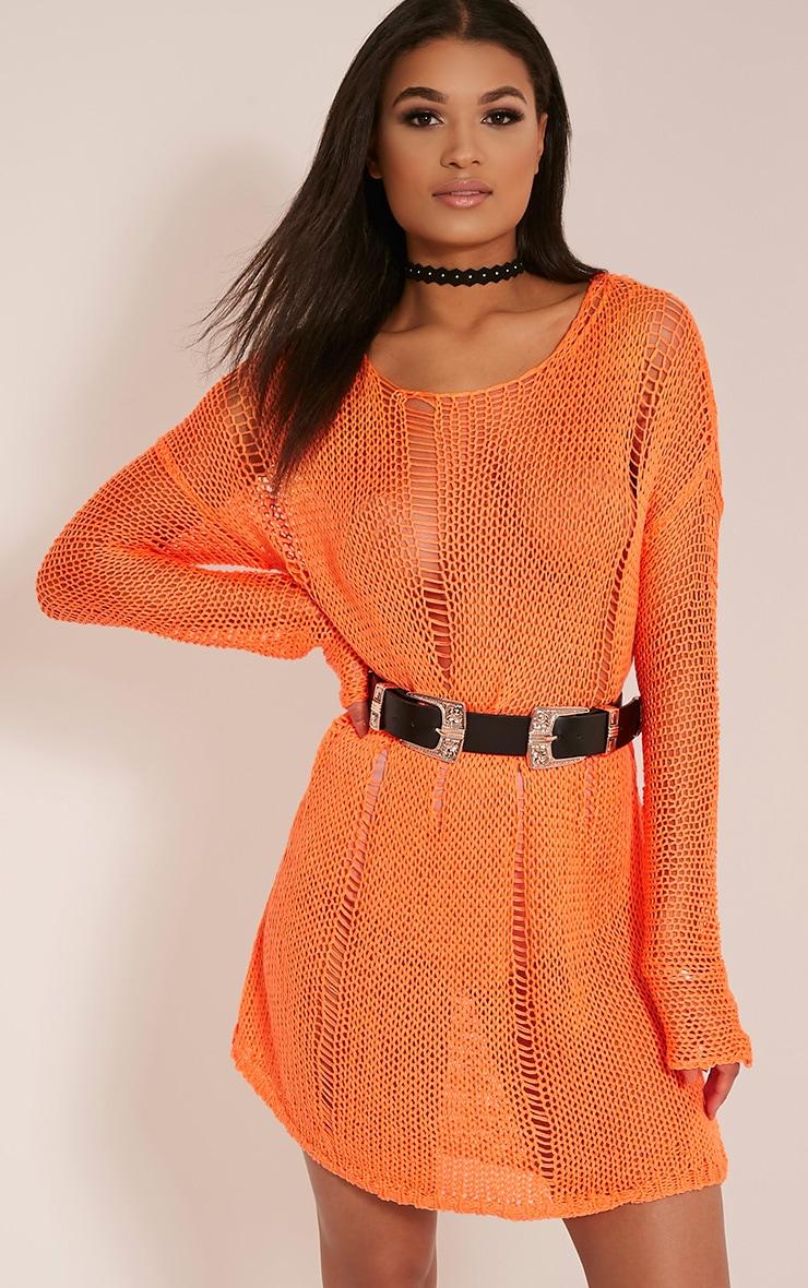 799c255f833c Prianca Bright Orange Oversized Knit Jumper Dress image 1