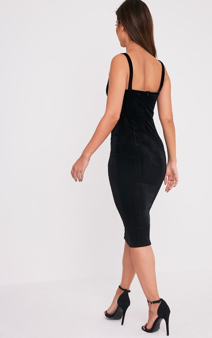 Garcia Black Velvet Panel Midi Dress 4