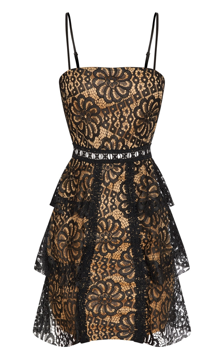 Black Lace Tiered Strappy Skater Dress 3