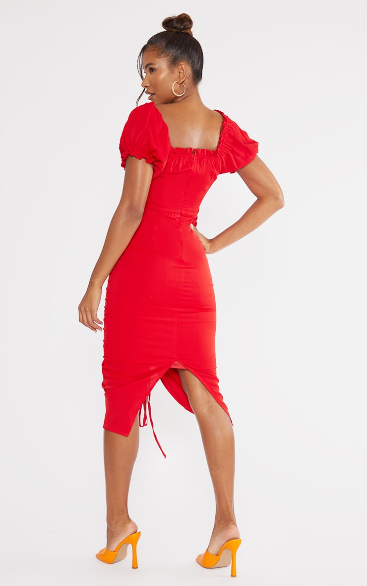 Red Broderie Anglaise Ruched Centre Bardot Midi Dress 2