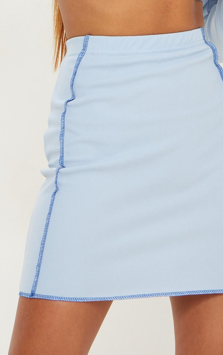 Light Blue Overlock Seam Detail Mini Skirt 5