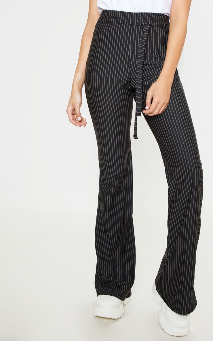 Black Pinstripe Tie Waist Flare Leg Pants 2