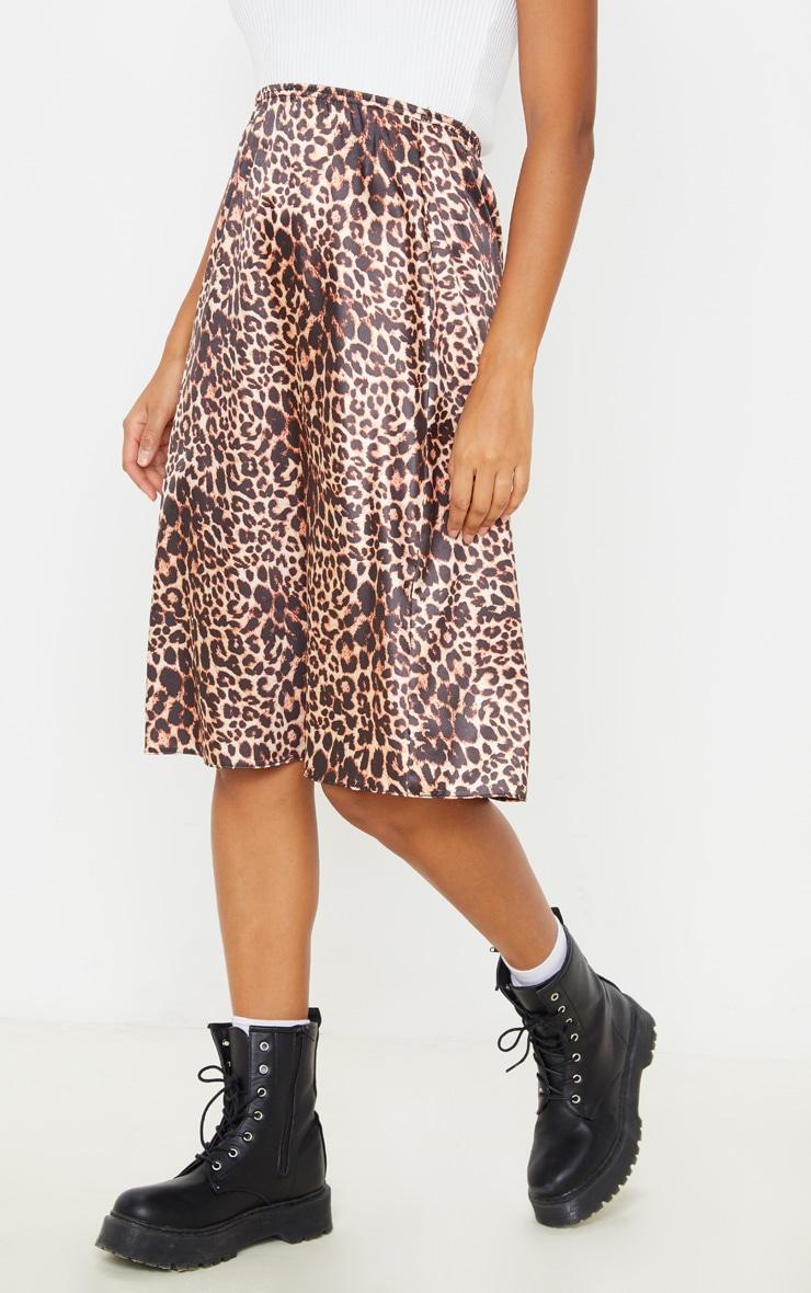 Satin Leopard Print Midi Skirt  2