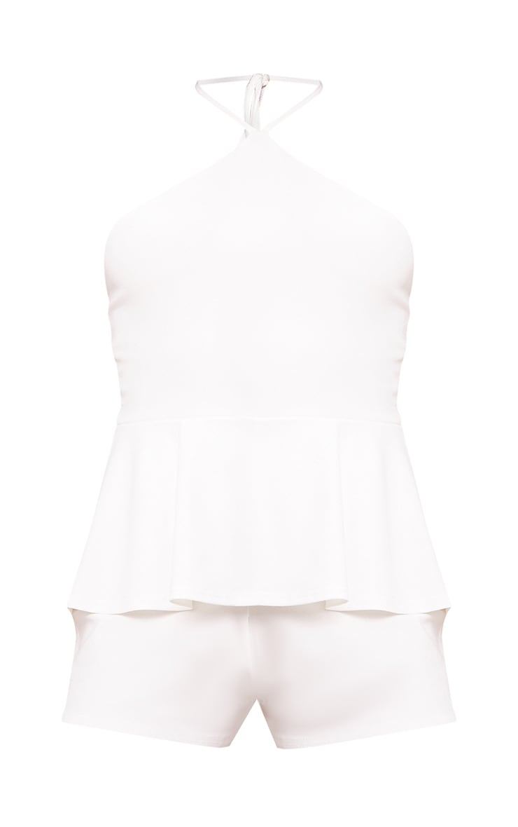 White Tie Neck Frill Hem Playsuit  3