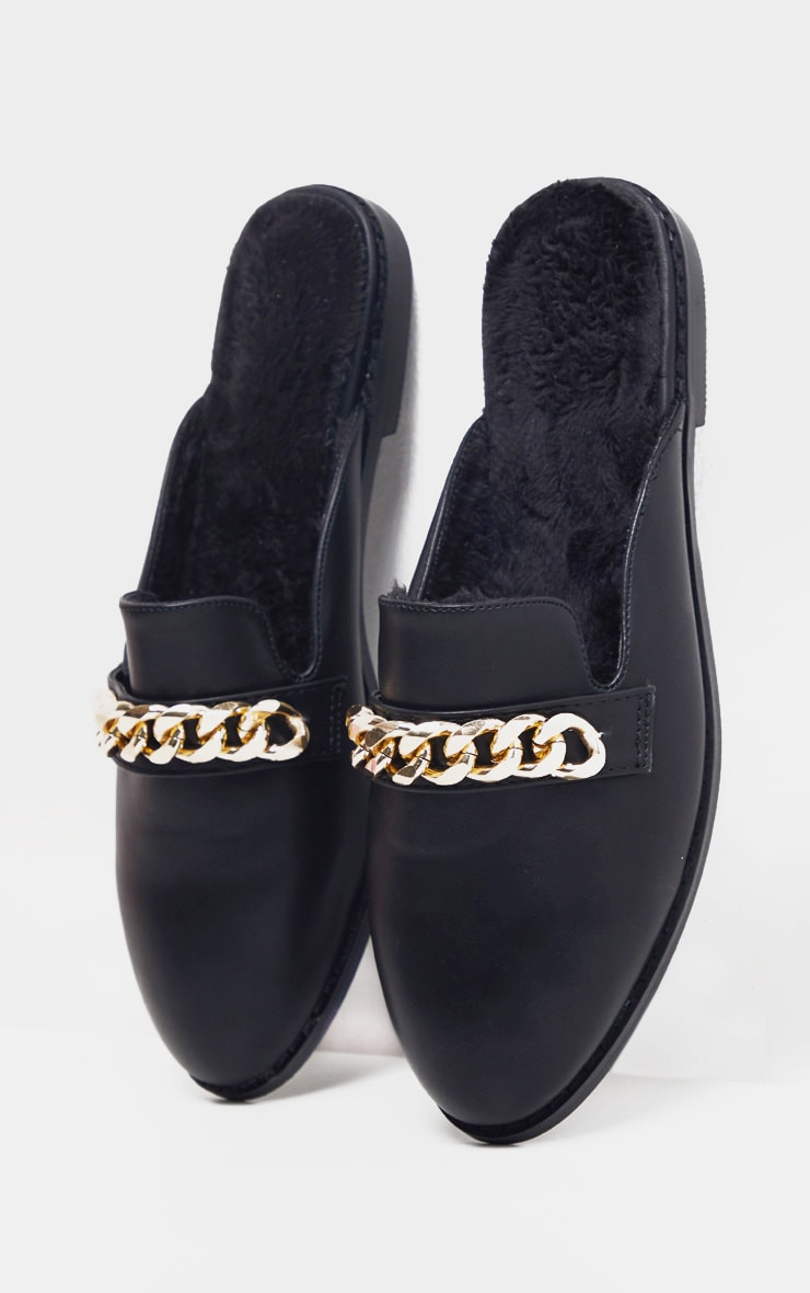 Black Faux Fur Lined Chunky Chain Mule Flat 4