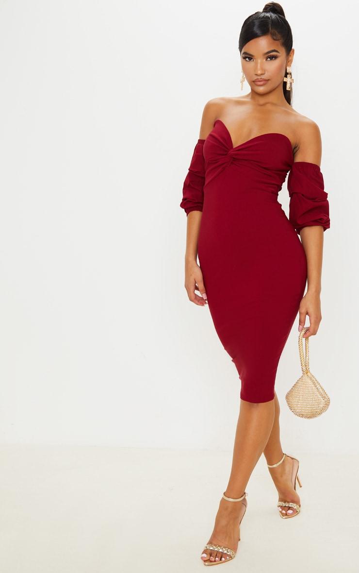 Scarlet Bardot Twist Detail Midi Dress 4