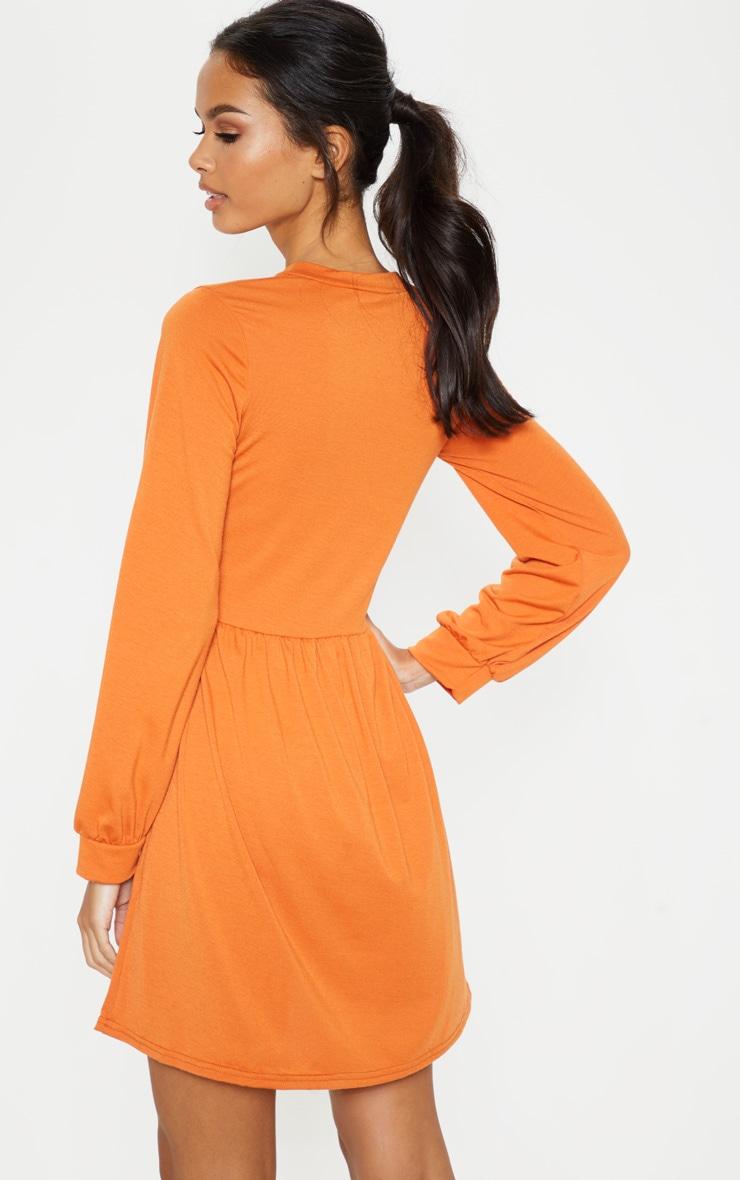 Burnt Orange Tie Neck Jersey Tea Dress 2