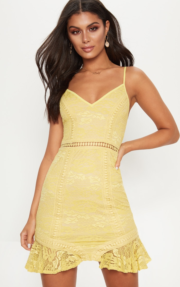 Chartreuse Lace Frill Hem Plunge Bodycon Dress  1