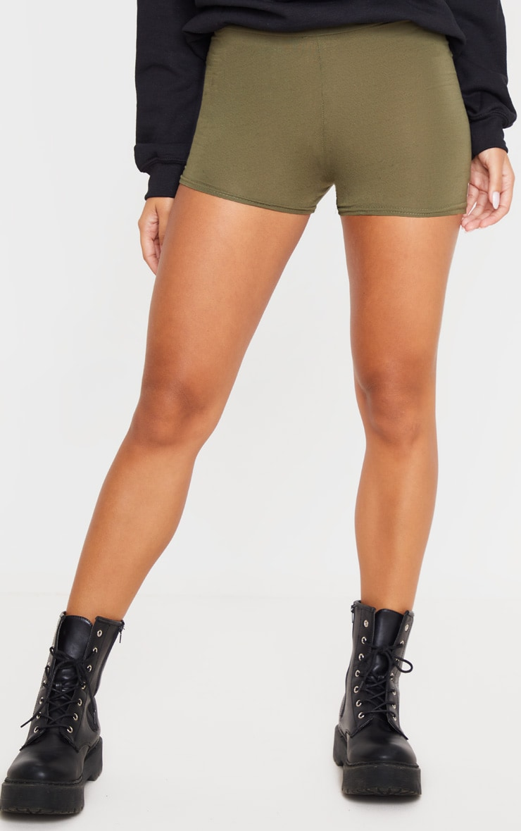 Khaki Basic High Waisted Shorts 2