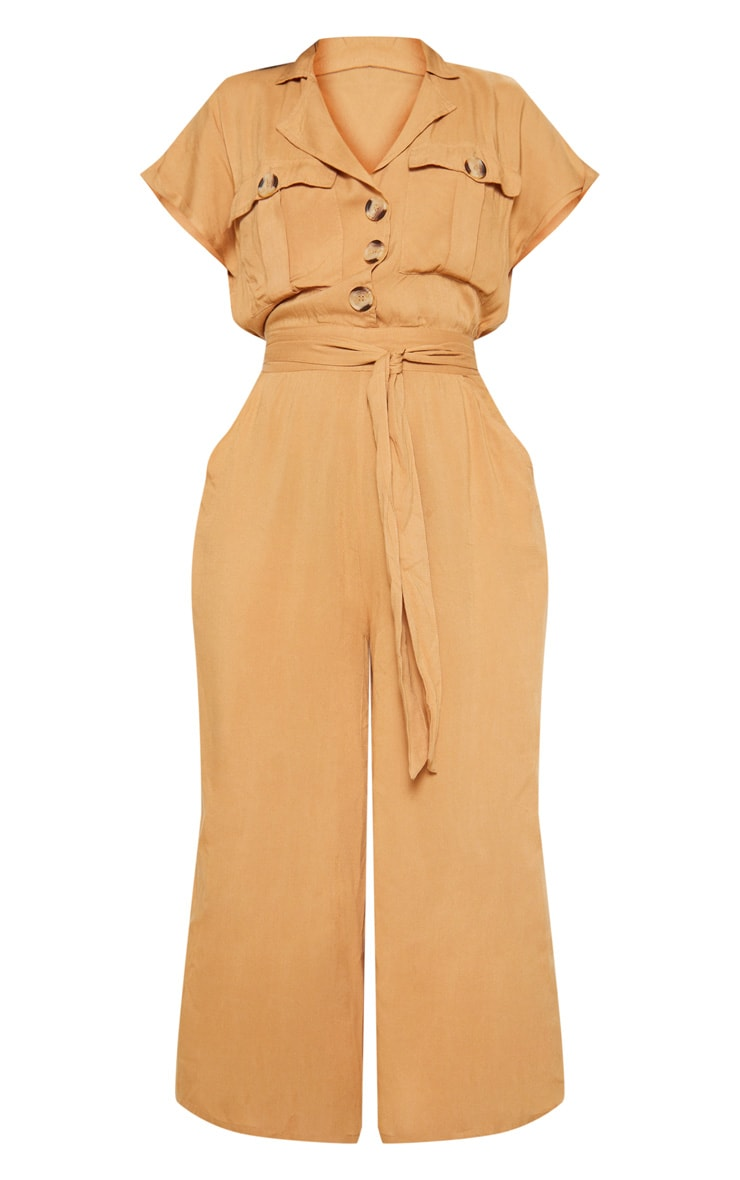 Camel Tortoise Shell Button Pocket Detail Culotte Jumpsuit 3