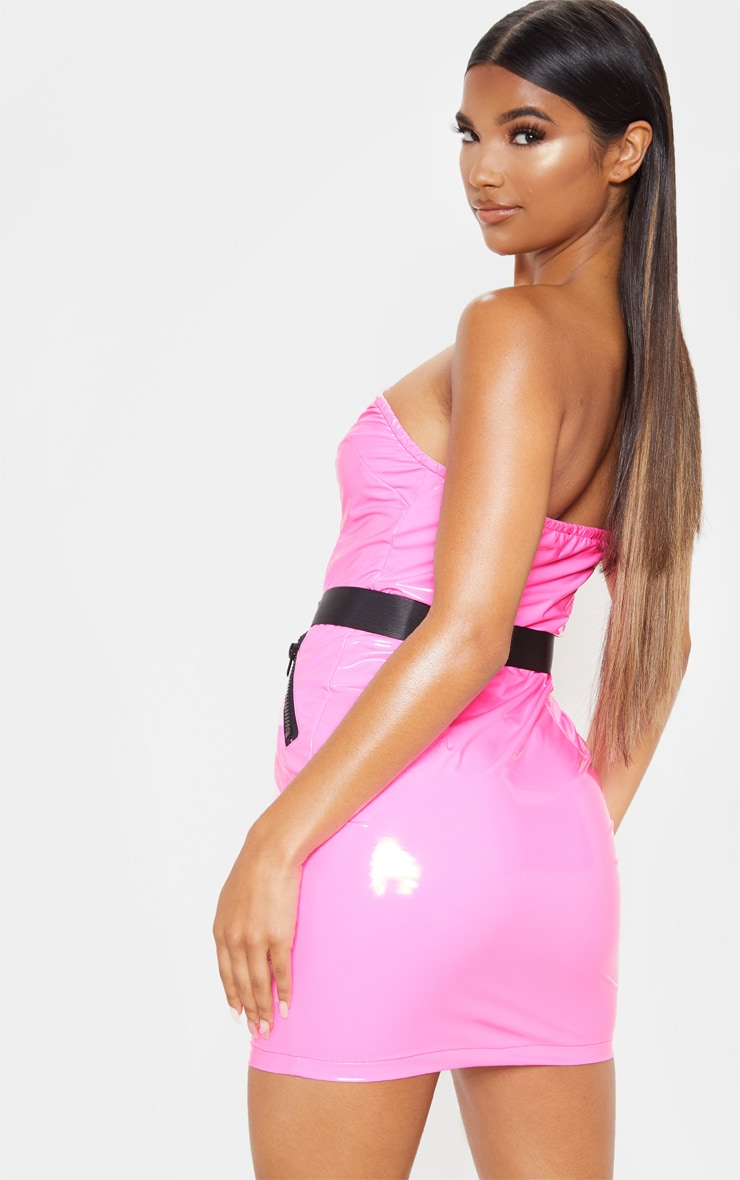 Neon Pink Vinyl Bandeau Zip Up Buckle Detail Bodycon Dress 4